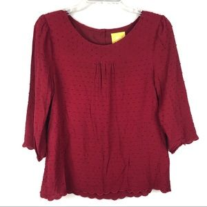 Anthropologie Maeve Swiss Dot Burgundy Top Size 10